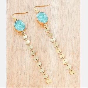 Dangling Turquoise Druzy And Goldstone Earrings